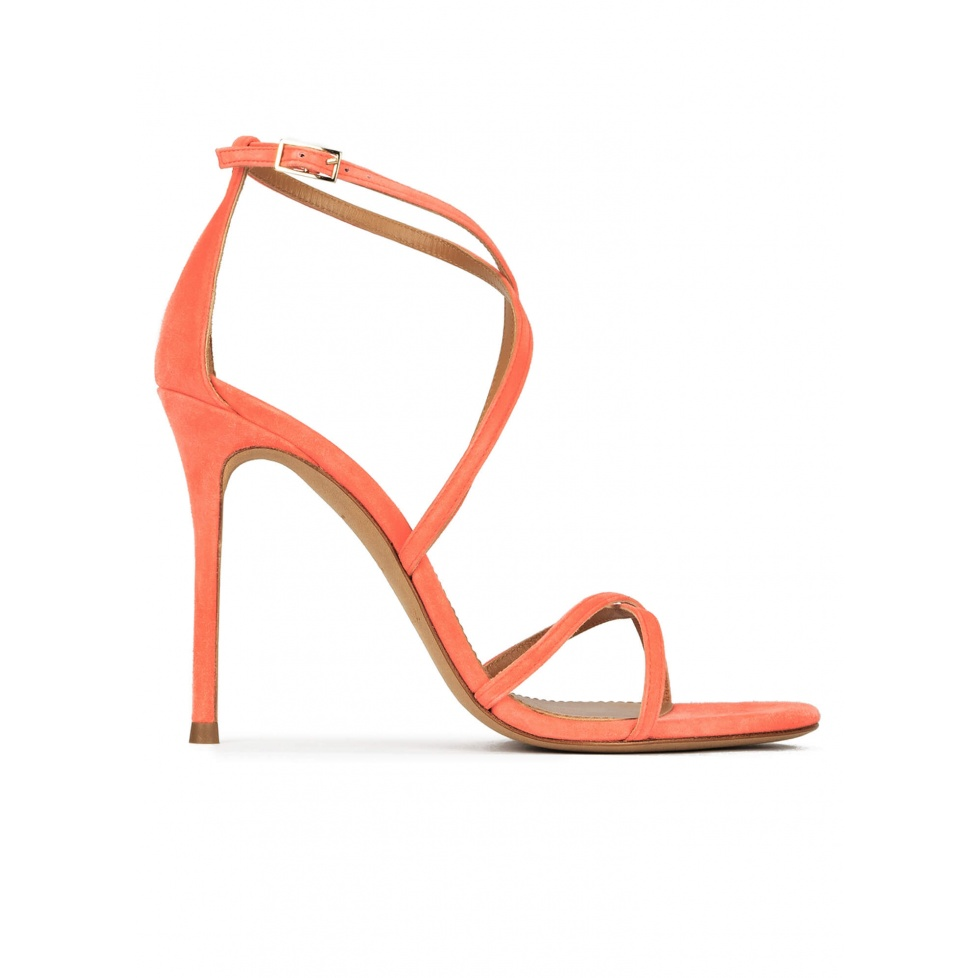 Crossed-strap high heel sandals in coral suede
