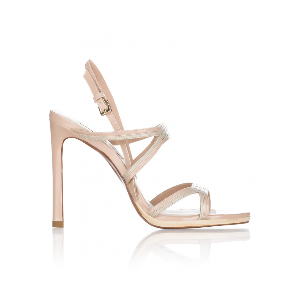 High heel sandals in neutral hues patent leather