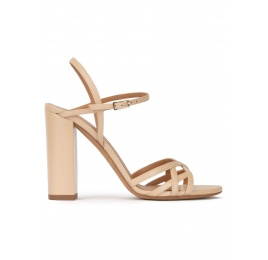 Strappy high block heel sandals in beige leather Pura López