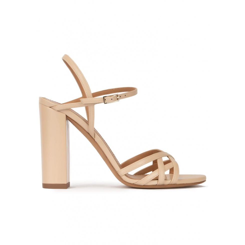 Strappy high block heel sandals in beige leather