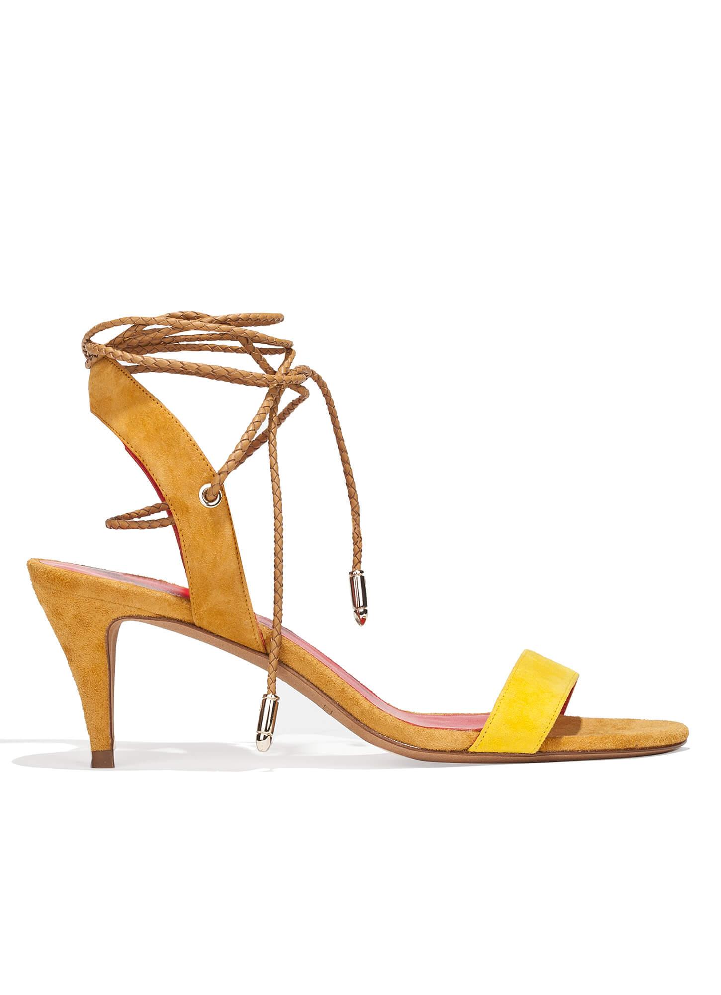 449c63d37f4c Mid heel sandals in two-tone suede - online shoe store Pura Lopez ...
