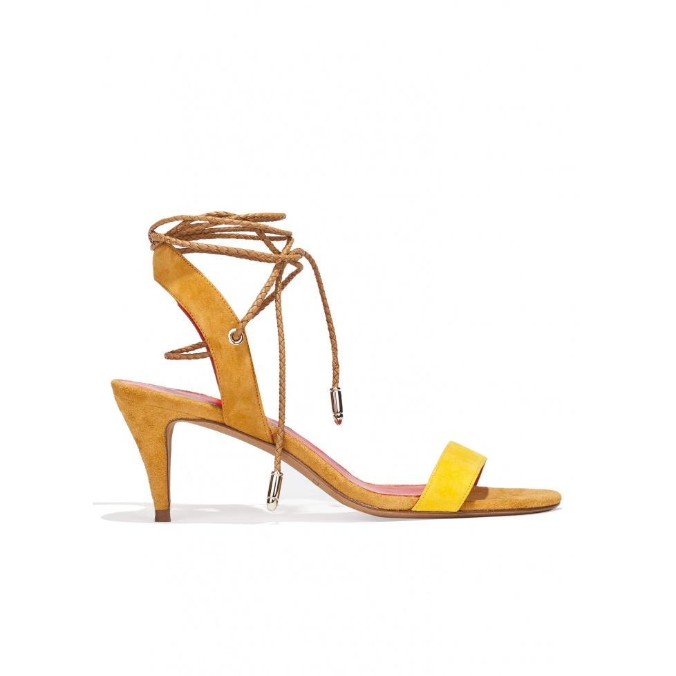 Lace-up mid heel sandals in two-tone suede