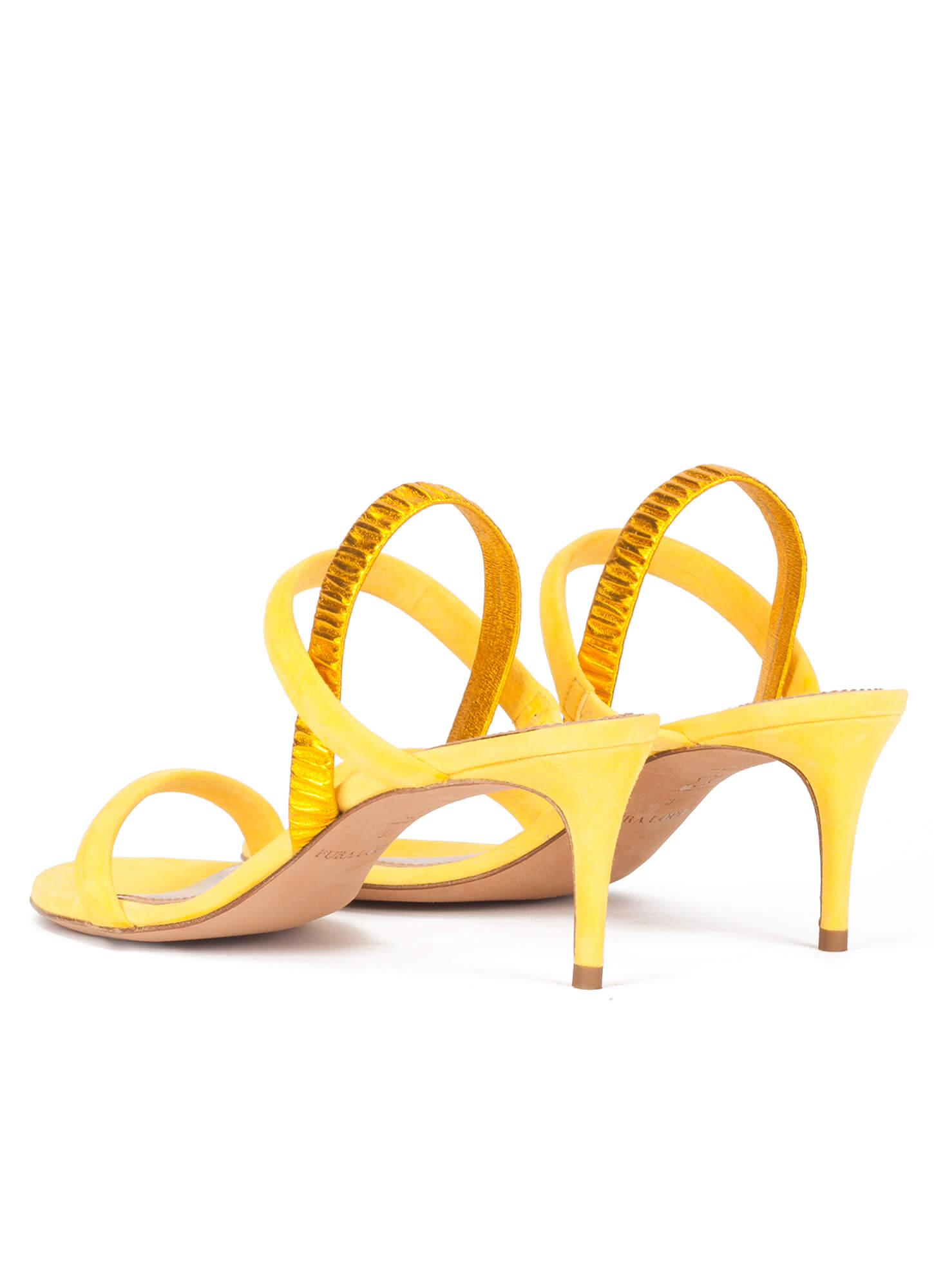 25b245287fe32 Strappy mid-heeled sandals in mimosa yellow suede . PURA LOPEZ
