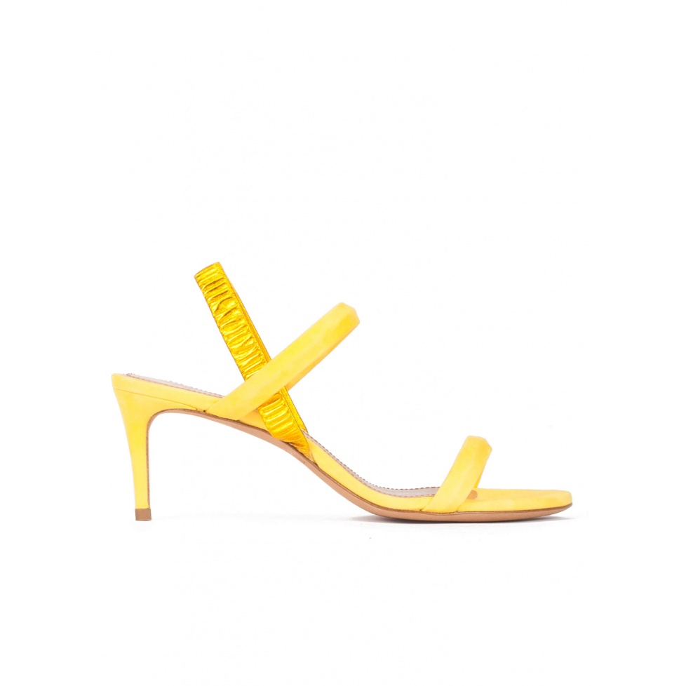Strappy mid-heeled sandals in mimosa yellow suede