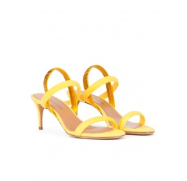 Strappy mid-heeled sandals in mimosa yellow suede Pura López