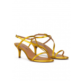Strappy mid-heeled sandals in yellow metallic leather Pura López