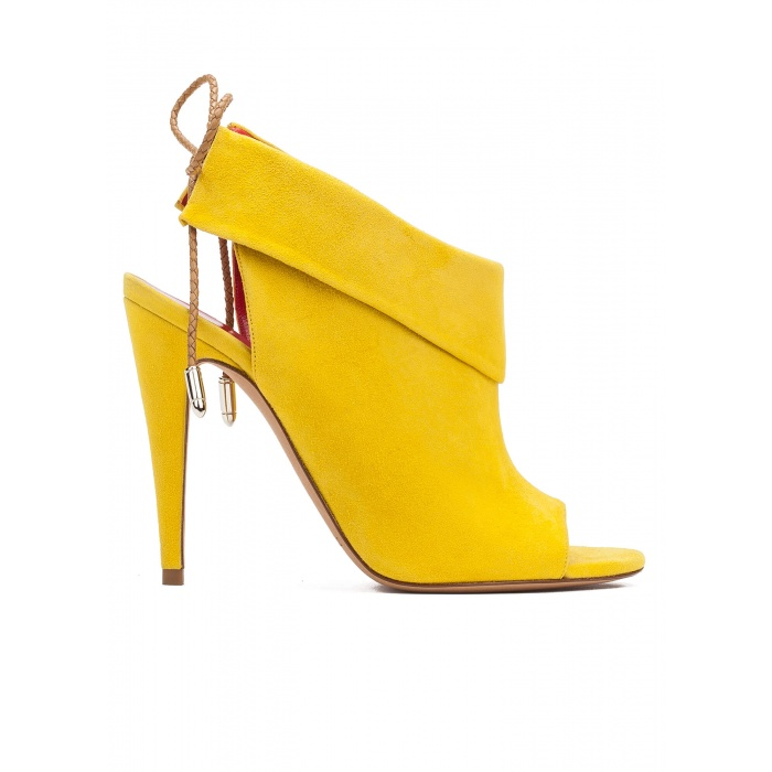Lace-up high heel sandals in yellow suede