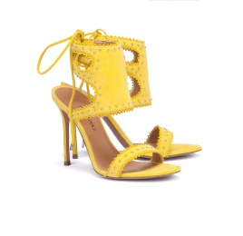 Lace-up heeled sandals in yellow suede Pura López