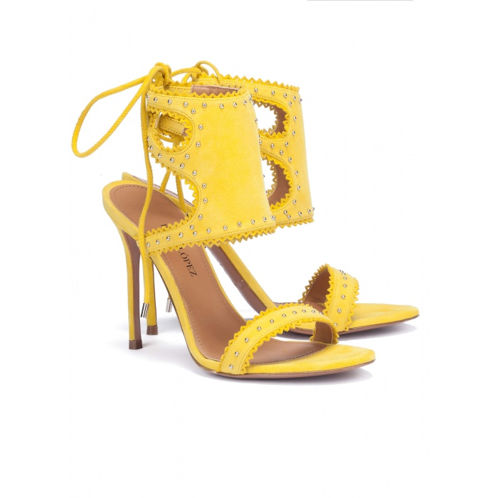 Lace-up heel sandals in yellow suede - online shoe store Pura Lopez