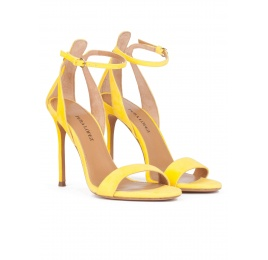 Yellow strappy high heel sandals in suede Pura López