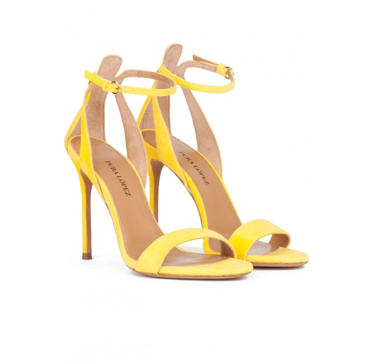 Yellow strappy high heel sandals in suede Pura L�pez
