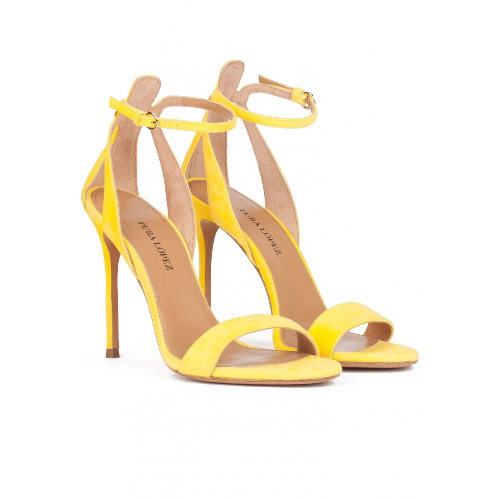 Yellow strappy high heel sandals in suede