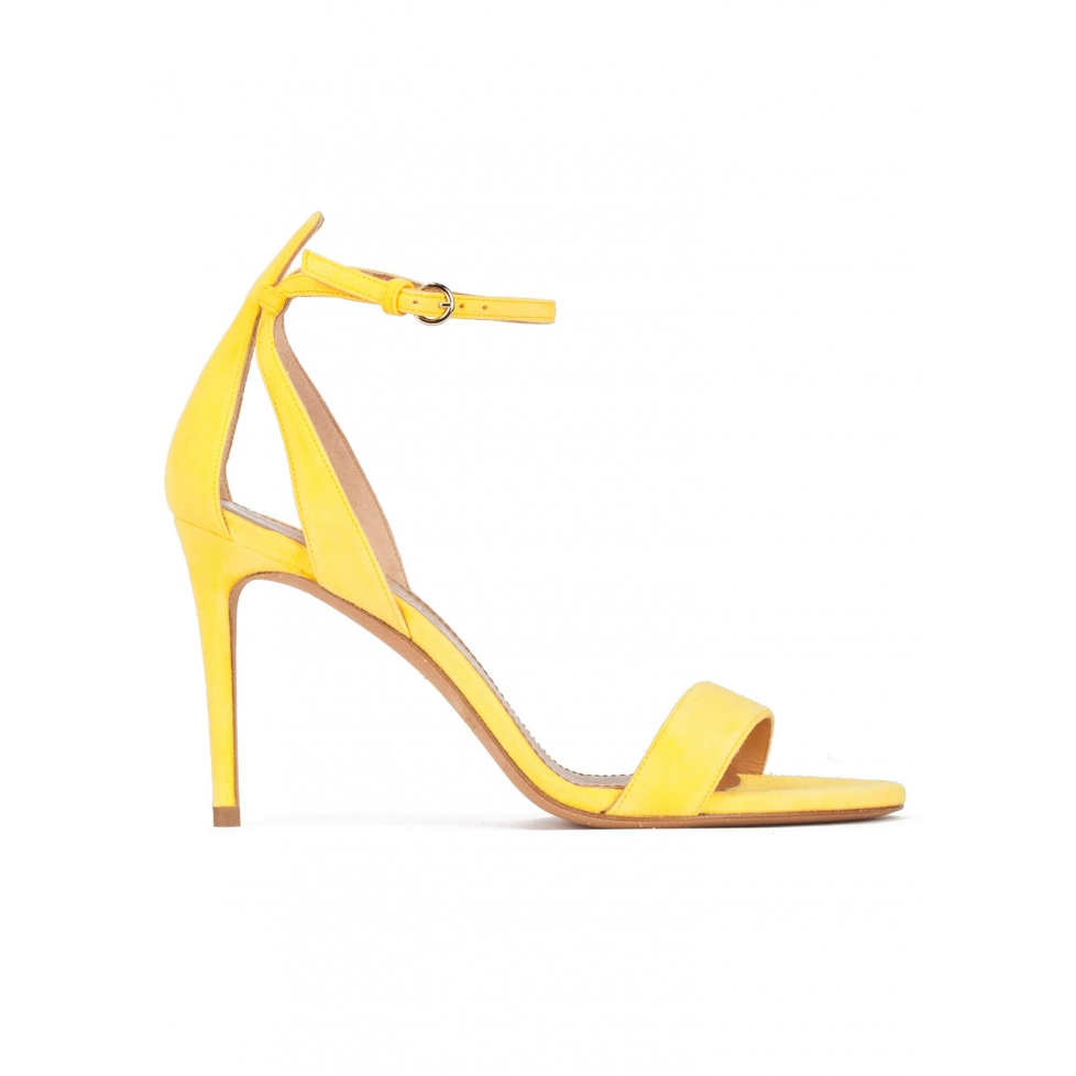 Barely there ankle strap high-heeled sandals in yellow suede