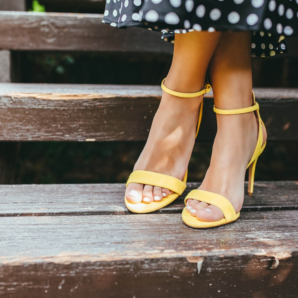 Barely there ankle strap high-heeled sandals in yellow