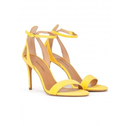 Barely there ankle strap high-heeled sandals in yellow suede Pura López