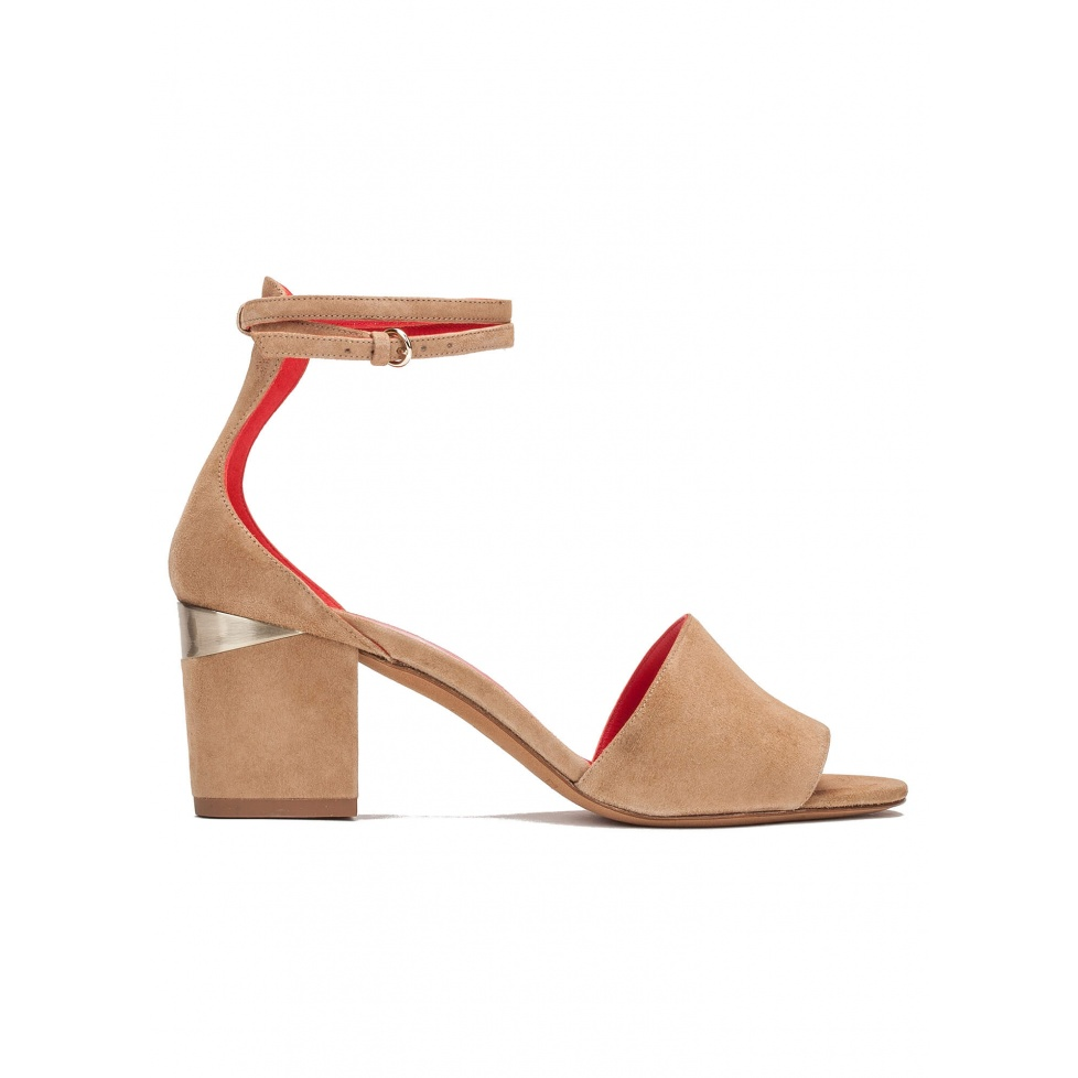Ankle strap mid block heel sandals in sand suede