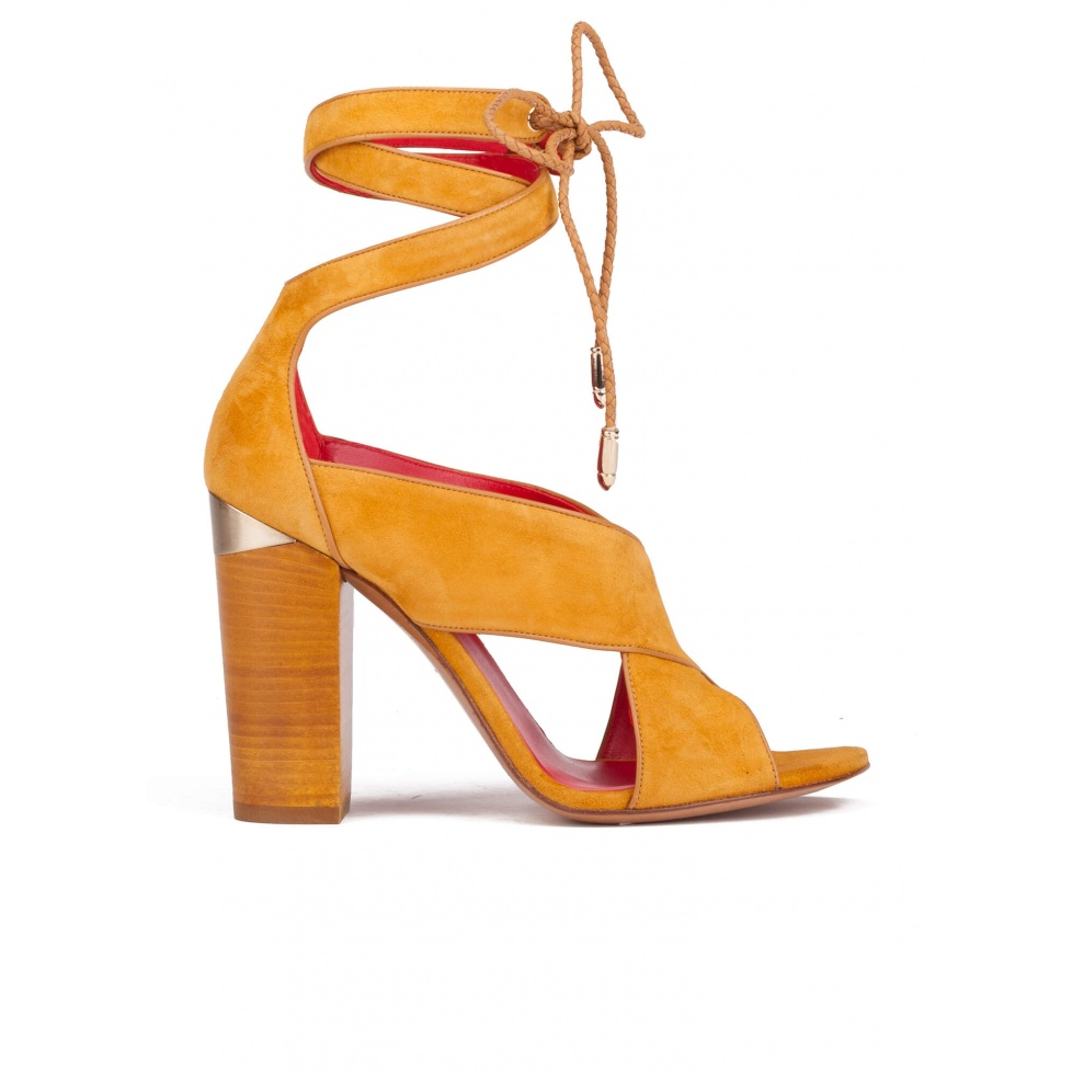 Lace up block high heel sandals in tobacco suede