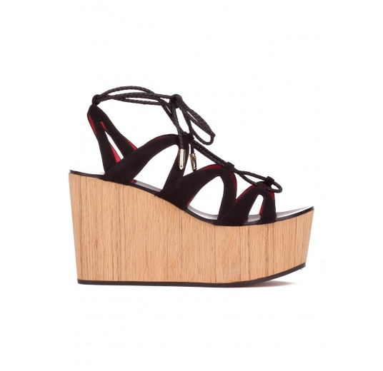 Lace-up wood wedge sandals in black suede Pura L�pez