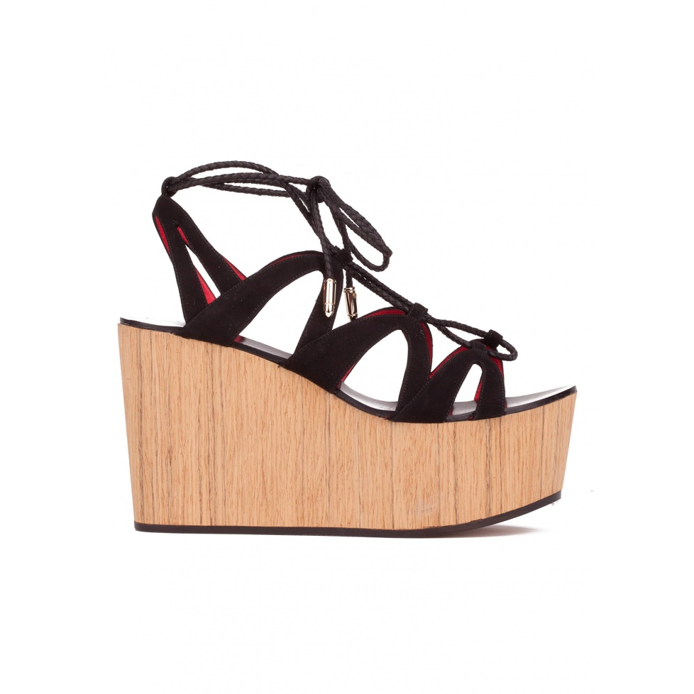 Lace-up wood wedge sandals in black suede