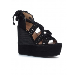 Black lace-up wedge sandals Pura López