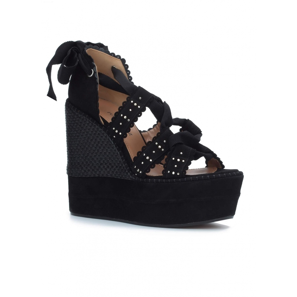 Lace-up wedge sandals in black suede - online shoe store Pura Lopez