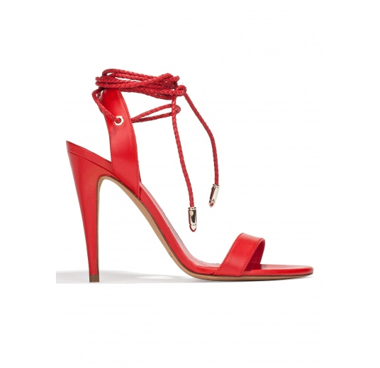Lace-up high heel sandals in red leather Pura L�pez