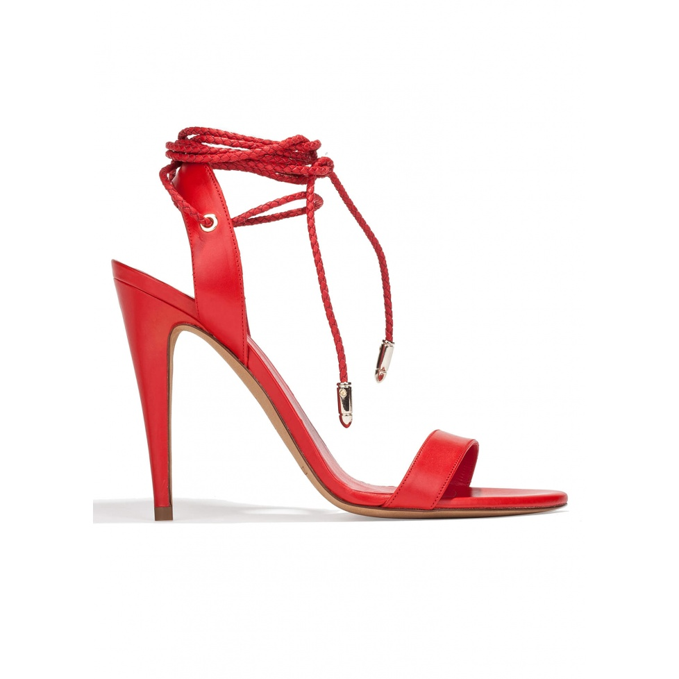 Lace-up high heel sandals in red leather