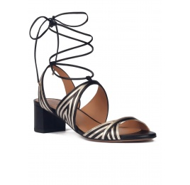 Strappy mid block heel sandals in gold an black leather Pura López