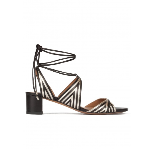 Strappy mid block heel sandals in gold an black leather Pura L�pez