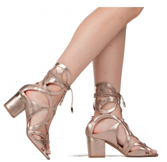 Lace-up mid block heel sandals in champagne metallic leather Pura L�pez