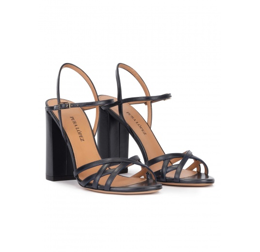 Ankle strap high block heel sandals in navy blue leather Pura López