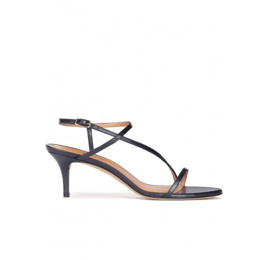 Strappy mid heel sandals in navy blue leather Pura López