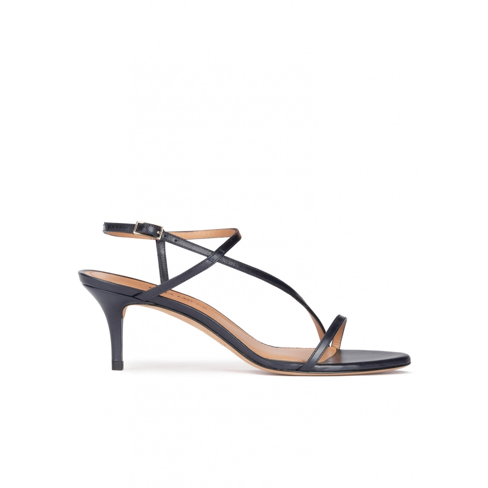 Strappy mid heel sandals in navy blue leather