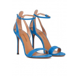 Ankle strap high heel sandals in royal blue suede Pura López