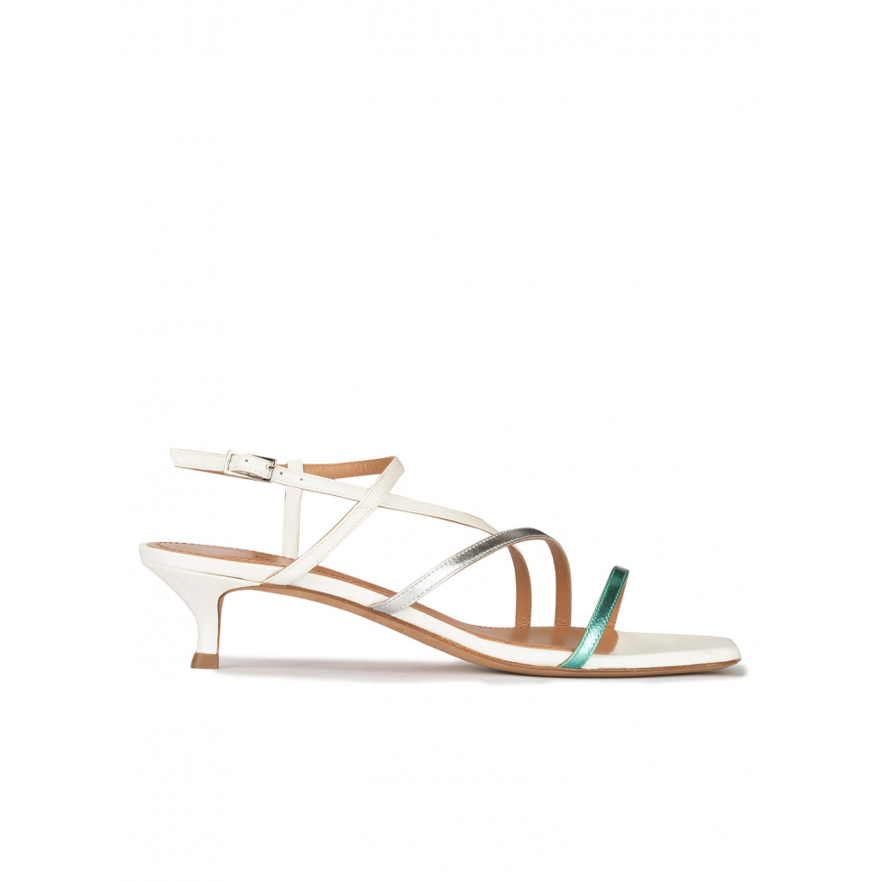 Strappy mid heeled sandals in multicoloured metallic leather