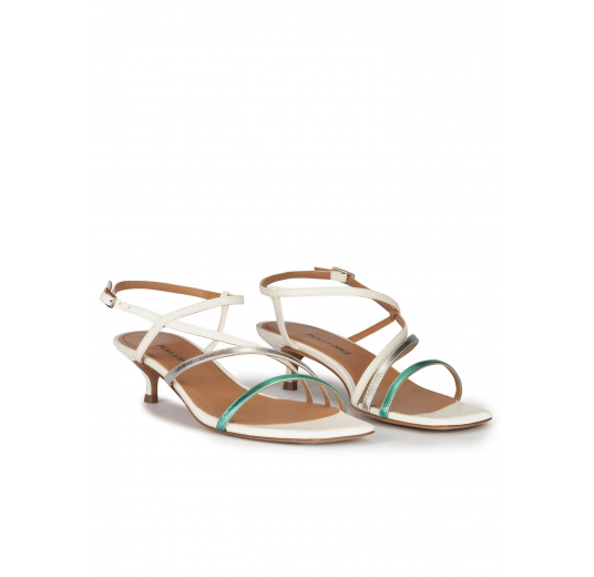 Strappy mid heeled sandals in multicoloured metallic leather Pura López