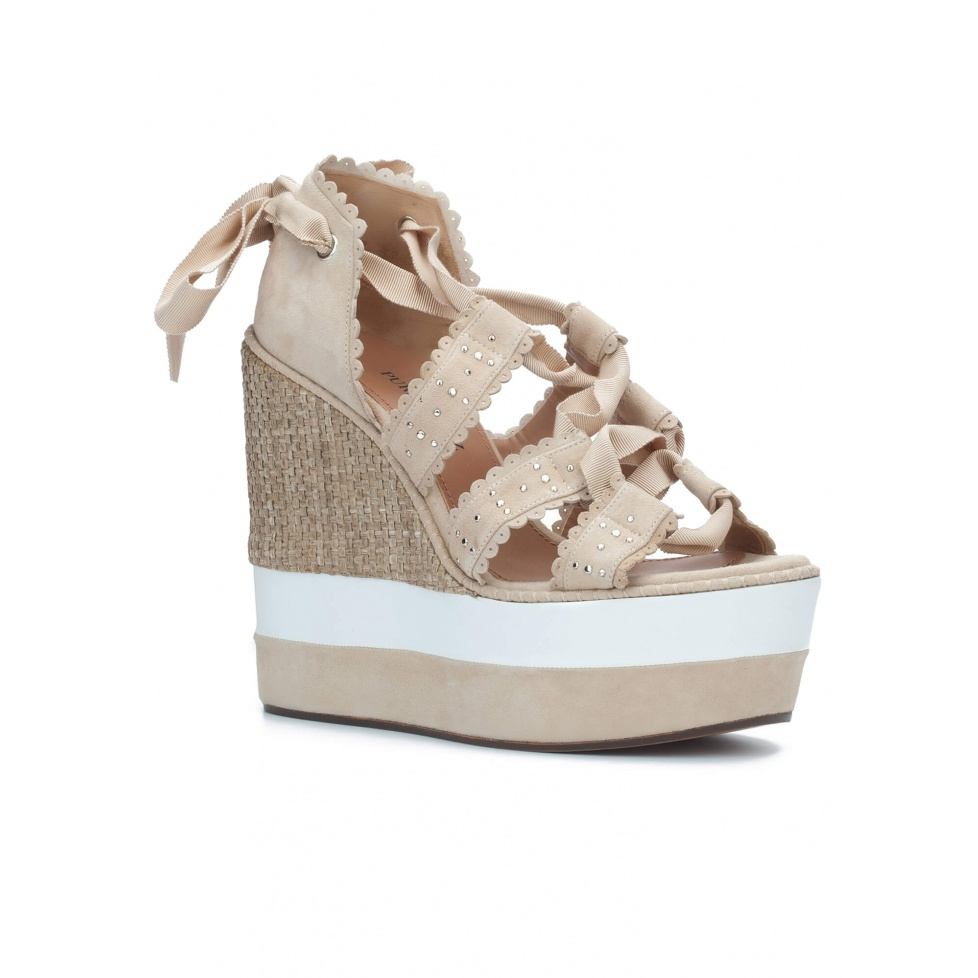 Lace-up wedge sandals in sand suede - online shoe store Pura Lopez