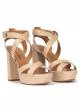 Sandalias altas de plataforma en piel beige