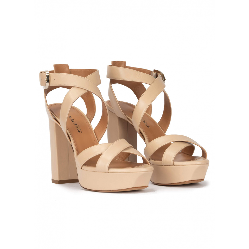 Strappy high platform sandals in beige leather