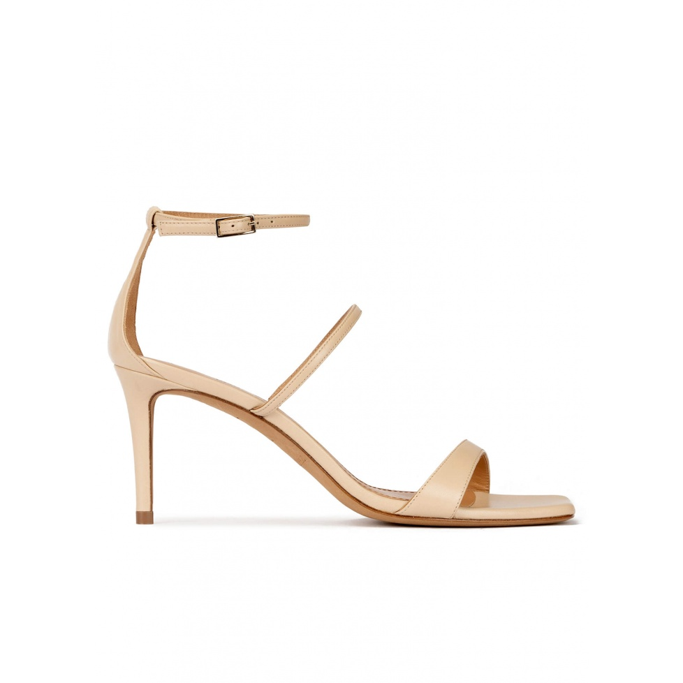 Beige leather squared-off toe mid heel sandals