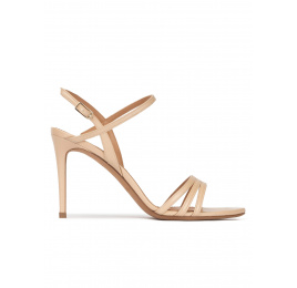 Strappy high heel sandals in beige leather Pura López