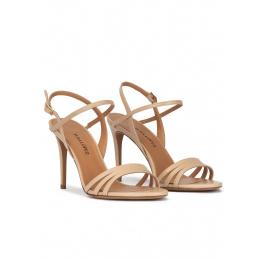 Sandalias de tacón alto en piel beige Pura López