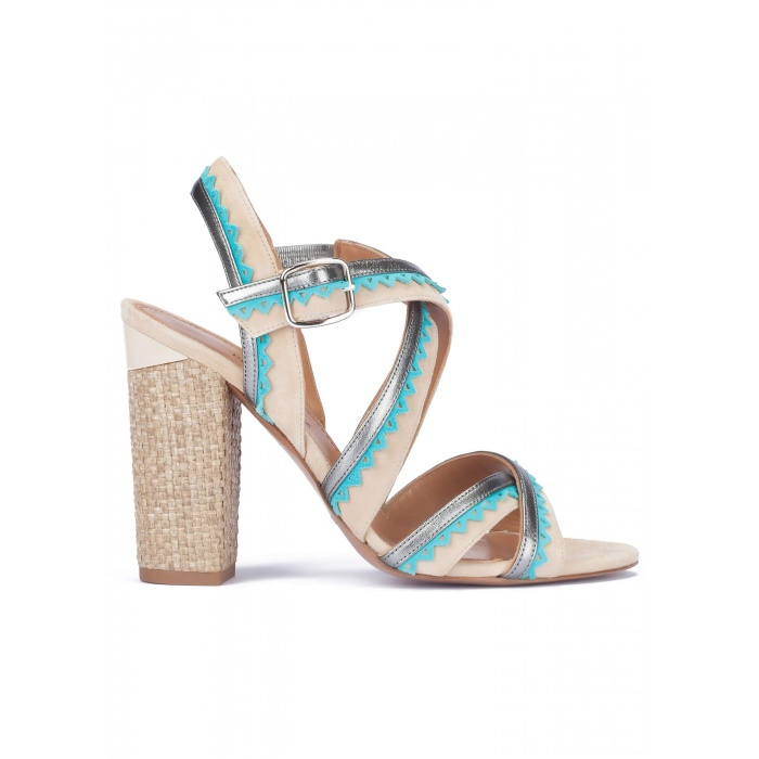 High block heel sandals in sand suede
