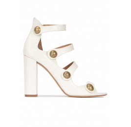 Off-white strappy high block heel sandals in leather Pura López