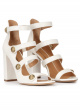 Off-white strappy high block heel sandals in leather