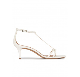 Ankle strap mid heel sandals in off-white leather Pura López