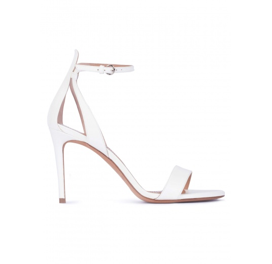 Ankle strap high heel sandals in off-white leather Pura L�pez