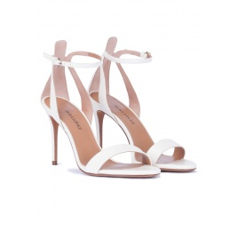 Ankle strap high heel sandals in white leather Pura López
