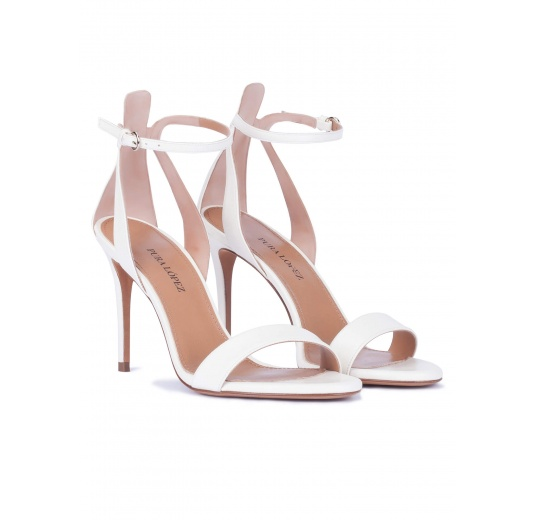 Ankle strap high heel sandals in off-white leather Pura López