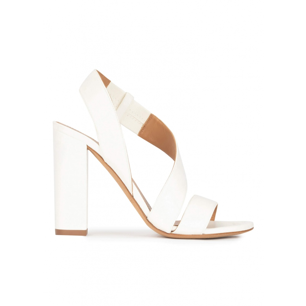 High block heel sandals in off-white leather